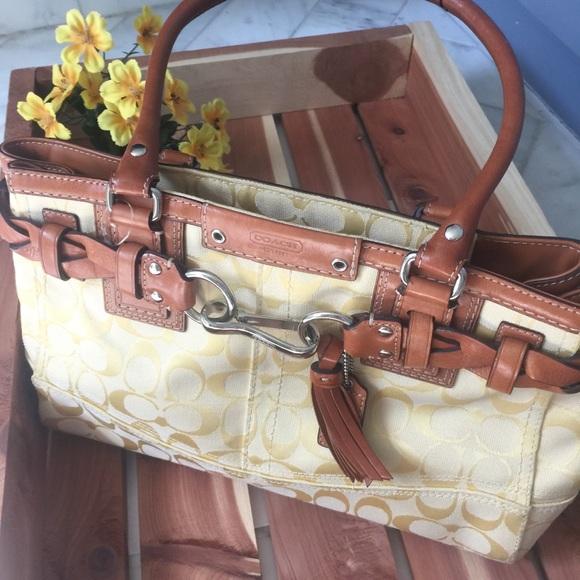 c0d92983c ... release date coach hampton signature yellow carryall satchel 97d42 882da